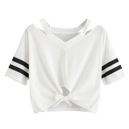 cut out tees Canada - Women Short T-Shirt Summer Short Sleeve Cut Out V-Neck Casual Crop Tops Ladies Striped Sleeve Bow Tied Tees #L
