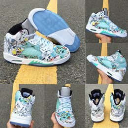 $enCountryForm.capitalKeyWord Canada - New Jumpman V 5 Wings White Green ICe Blue Graffiti Basketball Shoes for Best quality Mens Trainers 5s Sports Sneakers Size 8-13