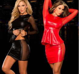 Xl Full Body Suits Australia - Sexy Costumes Womens Exotic Apparel Full Body Latex Suit Lingerie Babydoll Pu Leather Exotic Dancewear Night Dress Black Red 2ps Y18110504