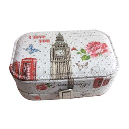 lockable boxes NZ - Lockable Jewelry Box Pattern Printed Travel Cosmetics Makeup Organizer Case with Lock Gift for Women Ladies (Bell Tower)