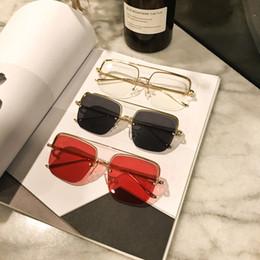 Box Brand Glasses NZ - Half Frame Sunglasses Euro Stylish Sun Glasses With Box Square Lens Brand Designer Eyeglasses Summer Eyewear For Women Men Quality Eye Glass