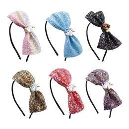 $enCountryForm.capitalKeyWord Australia - Fashion Rainbow Glitter Hairband Bling Leather Headband For Baby Girls Princess Unicorn Party For Girls Boutique Hair Hoop Hair Accessories