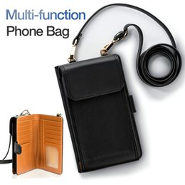 Case Cover purse Card wallet online shopping - Universal Multifunctional Phone Case Leather Wallet Case Cover Zipper Purse Pouch Messenger Bags With Card Slot For iPhone X Samsung S9