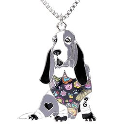 $enCountryForm.capitalKeyWord UK - Basset Hound Pendant Necklace for Girls Handmade Enamel Pets Dog Statement Gifts Jewelry Can be Used as Car Keychain