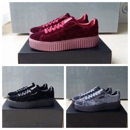 Wholesale 2018 Velvet Rihanna x Suede Creepers Men Women Rihanna Riri Fenty Platform Pack Burgundy Black Grey Red Fashion Cheap Casual Shoes Sneakers