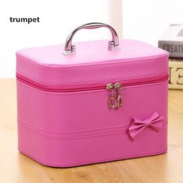 9c6b71801a pochette maquillage New High quality PU bow-knot square hand makeup bag big  capacity receive box fashion cosmetic case neceser