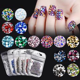 Discount flat back gems - 1 Pack Colorful Crystal AB Mix Nail Rhinestone Multi-size Flat Back Glass 3D Nail Gems Accessories Manicure Art Decorati