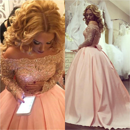 $enCountryForm.capitalKeyWord Australia - Sexy Bateau Neckline Evening Dresses Ball Gown Long Sleeve Lace Appliqued Beaded Prom Party Gowns Bow Back Sweep Train Quinceanera Dress