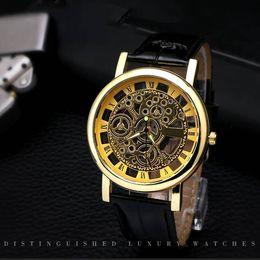 $enCountryForm.capitalKeyWord Australia - Hollow Men Luxury Watch Engraving Case Mechanical Watches Round Dial PU Leather Skeleton Dial Mechanical