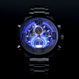 colourful watches NZ - watch agent Men military sports watches Dual Time Quartz Analog Digital Watch colourful LED light full steel watches