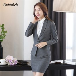 $enCountryForm.capitalKeyWord Canada - Bettolvis Plus Size Autumn Winter Formal Business Suits 2 pieces blazer+Skirt Ladies Blazers Set OL Styles women skirt suits