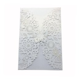 China 10pcs Wedding Butterfly Invitations Laser Cut Cards For Bridal Shower Birthday supplier butterfly cut cards suppliers