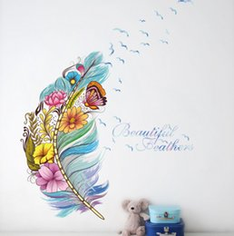 $enCountryForm.capitalKeyWord NZ - colourful 3d vivid feather butterfly birds flower wall stickers home decoration living room pvc wall decals diy mural