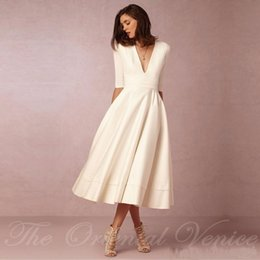 Summer beach wedding dreSSeS online shopping - Vintage Wedding Gowns s Tea Length Short Wedding Dresses with Sleeves Sexy Deep V Neck Ivory Summer Beach Bridal Gowns