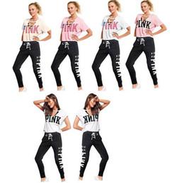 yoga pants brands 2018 - Summer Women PINK Letter Tracksuit 2pcs Yoga suits V Neck Independence Day Short Sleeve T Shirt+Bandage Pants Leggings C