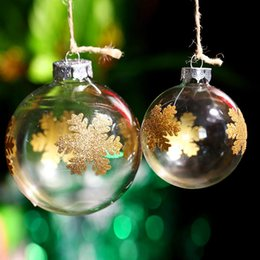 Clear Balls Australia - Christmas Tree Decoration Ornament Ball   Gold chunky Snowflake  Clear Glass Ball wedding party event message Supplier Xmas
