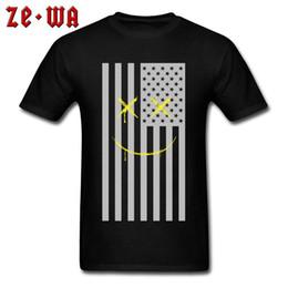 Family Flag Smiles T-shirt Unique Guys T Shirt America Street Style Clothes  Mens Striped Tops Hip Hop Black Tees Cotton Fabric 3d7108e5d1d7