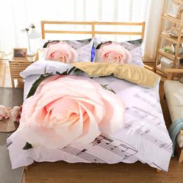 $enCountryForm.capitalKeyWord Australia - New 3D Rose Bed Linens Set Polyester Cotton Bed Sheet Shams King Duvet Cover Set Bedclothes and Bedding for Wedding Gift