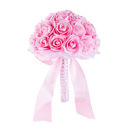 China Beautiful Pink Flowers Wedding Flowers Bridal Bouquets Handmade Artificial Rose Bridal Bouquets for Wedding Decoration CPA1592 cheap roses dried flowers suppliers
