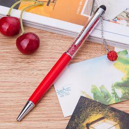 Metal Ballpen UK - 500 pcs Colorful Stylus Crystal Diamond Rainbow Ballpoint Pen Stationery Office School Ballpen Novelty Gift Can Customize Logo