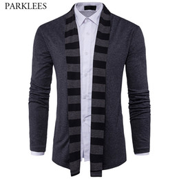 men shawl sweaters NZ - Striped Shawl Collar Sweater Men 2017 Brand Autumn Crochet Mens Sweaters Long Sleeve Slim Fit Mens Knitted Cardigan Masculino