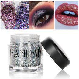 Wholesale Glitter Lips Australia - HANDAIYAN 10 Color Glitter Eye Shadow Monochrome Eye Shadow Powder Galactic Magic Multi-function Lip Body Sequins