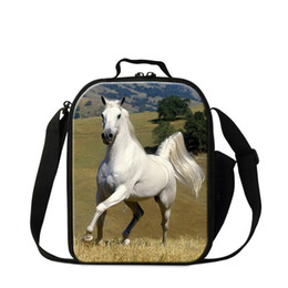 Cool tote lunCh bag online shopping - Fashion D Horse Print School Children Toddlers Small Lunch Box Bags Insulated Lunch Cooler Food Tote For Teenagers Men Office