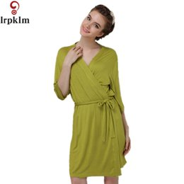Dressing Gown Modal Bathrobe Women Kimono Short Bath Robe Female Sexy  Sleepwear Nightwear Home Sleep Wear Peignoir Femme SY639 e8f27577f