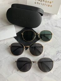 China stephane christian LASH Round Sunglasses gold green 55mm gafa de sol Sonnenbrille unisex Luxury Designer Sunglasses Glasses New with box cheap christian sunglasses suppliers