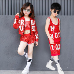 69e2244ecc90 Girls Boys Red Sequined Ballroom Jazz Hip Hop Dance Performance Costumes  Shirt Tops Pants for Kid Modern Party Stage wear Outfits Clothes