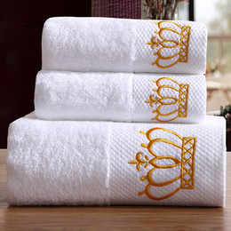 Discount hand embroidered towels - Quality Embroidered Crown White Hotel Towels Cotton Towel Set Hand face Towels Bath Towel for Adults Washcloths High Abs