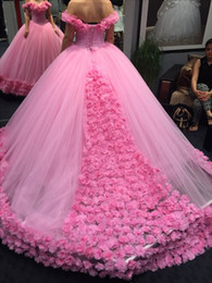 $enCountryForm.capitalKeyWord Canada - Prom Dresses 2019 Luxury 3D Floral Ball Gown Modest Off-shoulder Cathedral Train Quinceanera Dresses Sweety 15 Girls Masquerade Gowns