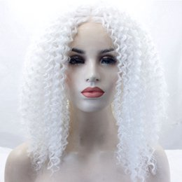 $enCountryForm.capitalKeyWord NZ - Short White Hair Color Afro Kinky Curly Glueless Hair Synthetic Lace Front Wigs Heat Resistant Cosplay Party Wig