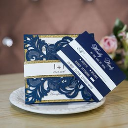 Laser cut birthday cards online shopping - Navy Blue Laser Cut Wedding Invitations With Glittery Bottom Cards And Bands Provide Free Printing