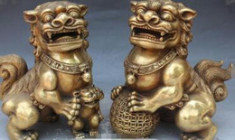 """Discount lighted dog ball - 9"""" Chinese Bronze Foo Fu Dog Guardion Lion Lions Animal Ball Kid Statue Pair"""