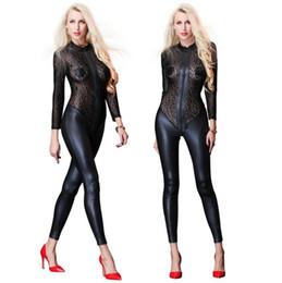 503b5c3f65009 Black Faux Leather Lace Bodysuit Erotic Clubwear Women Sexy Vinyl Leather  Latex Catsuit Lingerie Plus Size Costume