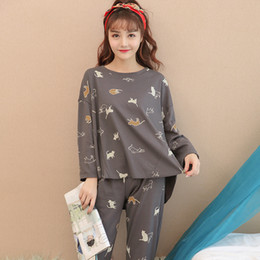 a519ce1bf94e Lounge cLothing online shopping - 100 Cotton Cute Girls Loose Pajamas Sets  for Women Autumn Winter