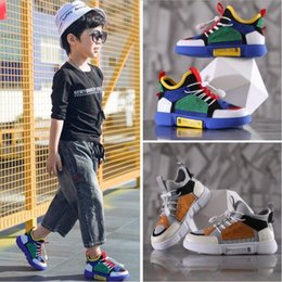 Year boYs casual shoes online shopping - New designer girls sports shoes boys color matching casual shoes fashion flat hiking shoes years old