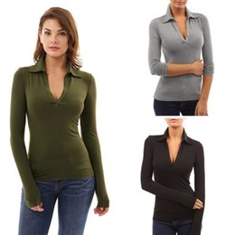 $enCountryForm.capitalKeyWord Canada - Long Sleeve V-Neck Sexy Women Tops T-Shirts New 2018 Spring Autumn Fashion Casual Black Army Green Gray Bodycon Tops T-Shirt Tee