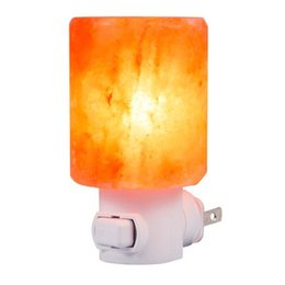 Plug wall lights uk online shopping - 30pcs Mini Himalayan Salt Lam LED Night Light Cylinder Shape Wall Lamp Bedside Bedroom Home Decor Novelty Lighting US EU UK AU Plug