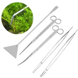China New Aquarium Live Plants Grass Cleaning Scissors Tweezers Flat Sand Shovel Scraping Algae Knife Maintenance Clip Tools Kit supplier living clean suppliers