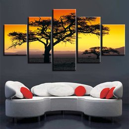 Art Canvas Prints Australia - Wall Art Framework 5 Pieces Tree Of The Sunset Wilderness Paintings Scenery Pictures Canvas HD Prints Posters Modular Home Decor