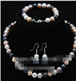 f826440fc07c Joyería ShippiNG8 gratuita 00210 A Sets 8-9mm Collar de perlas cultivadas  Akoya de colores   Pulseras   Pendientes18 Joyas