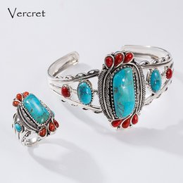 Discount solid sterling silver bangle bracelets - Vercret Nature Stone Adjustable Solid Silver Bangle For Women Real Pure 925 Sterling Coral Turquoise Stone Bracelet Bang