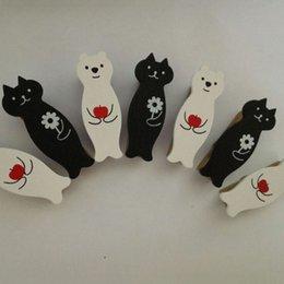 1 Unidades de dibujos animados creativo animal lindo blanco oso gato negro foto clips de madera Sellado lavado ropa clip de almacenamiento de madera sólida