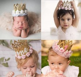 $enCountryForm.capitalKeyWord Australia - 4 Styles Kids Birthday Party Hairband Cap For 1 2 Year Old Newborn Lace Flowers Crown Headband Creative Girl Hair Accessories