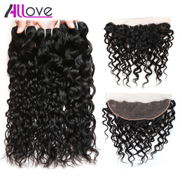 Brazilian Blonde deep curly hair online shopping - 8 quot Brazilian Hair Body Deep Peruvian Water Wave with Lace Frontal Closure Wet and Wavy Loose Curly Human Hair Bundles with Closure