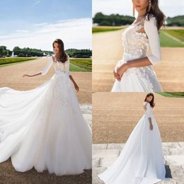 dropped wedding dresses Canada - 2019 Milla Nova Satin Wedding Dresses A Line V Neck Sweep Train Long Sleeve 3D floral Winter Autumn Bridal Dress Plus Size Bride