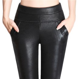 8df138981 Winter Velvet Warm Fashion Sexy Slim Women PU Leather Leggings Skinny Pants  Plus Size 40-100KG