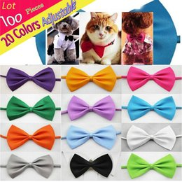 Tie Necktie Bow Dogs Australia - Wholedale (100 PCS  LOT) Adjustable Cute Solid Bow Tie Plain Butterfly Ties For Pet Dog Puppy Bows Clothing Accessories Necktie